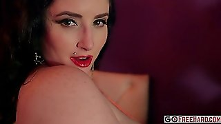 Busty Brunette Plays With Boobs