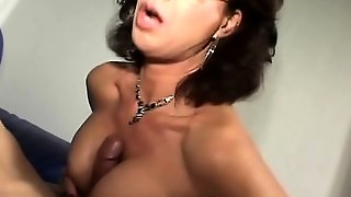 Hot Brunette With Big Boobs Gives Hot Blowjob
