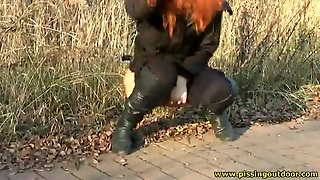 Pissing, Pussy, Outdoor, Public, Redhead