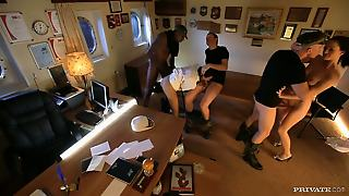 Sex Party At The Captain's Office.