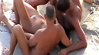 Mmf Threesome On The Beach