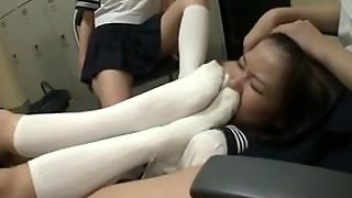 Slave, Feet Smelling, Lesbian, Armpit, Brunette, Shoe Domination, Feet, Japanese, 4 On 1