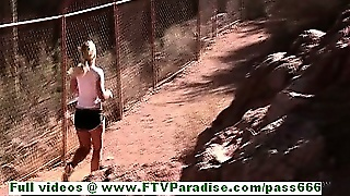 Marissa Sexy Busty Blonde Girl Work Out And Flashing Boobs Outdoor