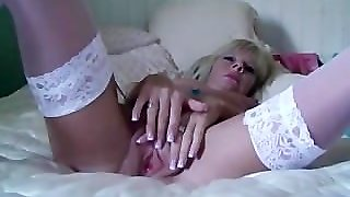 Petite Milf Strips And Fucks Her Massive Dildo
