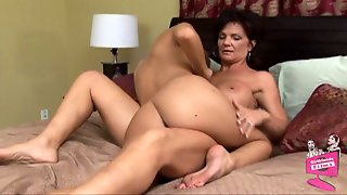 Milf Deauxma And Her Huge Fake Tits Are Sexy In Bed With A Girl