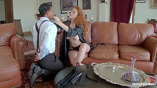 Guy Hangs From Ropes And Gets Tortured And Fucked By Dominant Vixen
