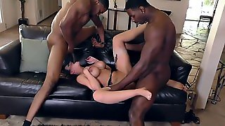 Busty Babe Interracial Gang Bang