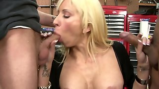 Blonde With Juicy Jugs Makes Guy's Sexual Fantasies Come True