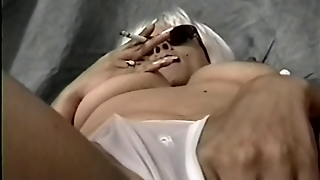 Asian Femdom Smoking With Holder Then Masturbating