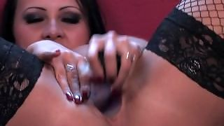 Sexy British Amber Leigh Toys Herself In Sexy Black Dress And Stockings