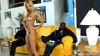 Very Sexy Blonde Babe On Two Huge Black Cocks