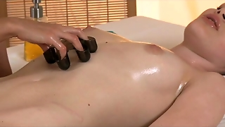 Massage Rooms Brunette Babes Have Tight Pussies Stretched Before Orgasm