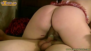 Christmas Slut Puts Condom On His Cock With Mouth