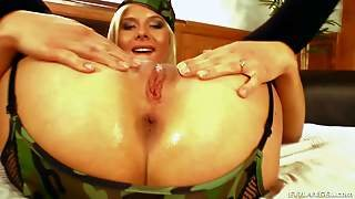 Blonde Dulsineya In Military Uniform And Black Stockings Gives A