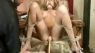 Hot Blonde In Bondage, Gagged And Fucked With A Dildo