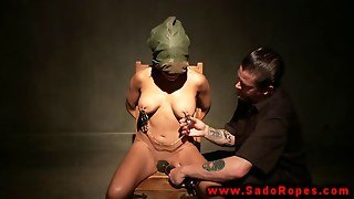 Bdsm Fetish Lady Manhandled By Dude With Nipple Clamps