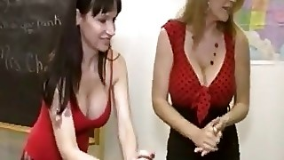 Two Sassy Cougars Give Some Dude An Awesome Handjob