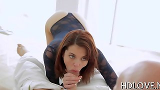 Redhead Chick Eats A Big Cock And Rides It Too