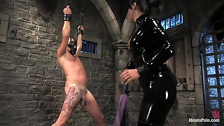 Bondage Fun With A Sexy Brunette In A Latex Outfit