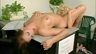 Lesbians Lick Pussy In The Office