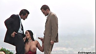 Big Tits, Brunette, Outdoor, Blowjobs, Threesome, Clothed, Double Penetration