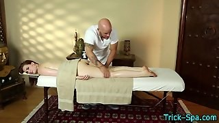 Masseur Rubs Teens Oiled