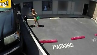 Redhead Sucks Big Cock In A Parking Lot To Avoid Her Ca