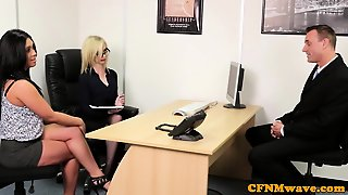 Euro Cfnm Femdom Sucking Cock In Office