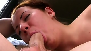 Titted Girl Sucks In The Car