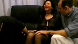 Hairy Mature Double Penetrated In Stockings