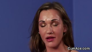 Unusual Looker Gets Cum Shot On Her Face Swallowing All The Spunk