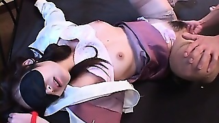 Excited Jap Girl In Stockings Pussy Finger Fucked While Tied Up
