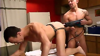 Dildo, Fuck Machine, Gays, In Kitchen, Anal Insertion, On Table, Drill, Hd