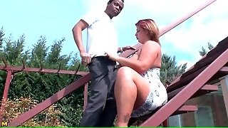 Horny Bbw Blows A Black Guy Outdoors