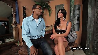 Black Dude Cumes With Tranny Beauty