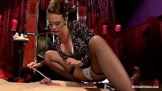 Horny Mistress Rides Her Slave While Masturbating With A Vibrator