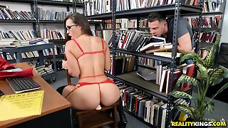 Dirty Librarian Rides A Toy And Sucks A Dick
