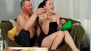 Tasty Russian In Strapless Dress Gets Drunk