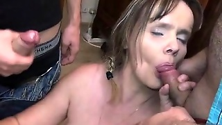 Big Boobs, Blowjob, Stockings, Hardcore, Brunette, Threesome