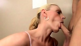 Blonde Milf Fucked By Teen Pecker In A Public Bathroom