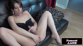 Femboy Amateur Tugging On Couch