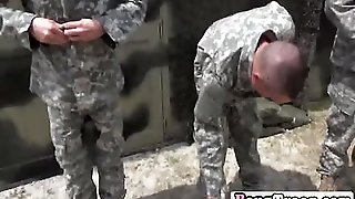 Military Males Excercise Their Muscles In The Locker Room