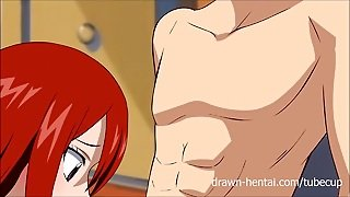 Fairy Tail Xxx Parody - Erza Gives A Dream Blowjob