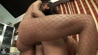 Hot Blooded Juggy Lady Boy Drills Stretched Anus Of Kinky Dude From Behind