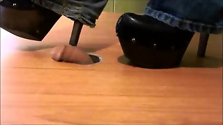 Crushing Slave Cock With Jessica Simpson High Heel Clogs