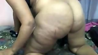 Tease With A Big Juicy African Booty In Doggy Style Fucking Her Pussy