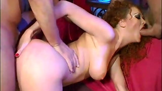 Ass Fucking, Cum In Mouth, Redhead, Cowgirl, Natural Tits, Spit Roast, Cock Sucking, Mmf, Threesome