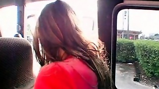 Teen Sweetie Swallows A Big Load In The Bus