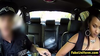Ebony Babe Dicksucking Officer In His Car