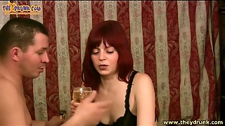 Redhead And Her Man Share Drinks
